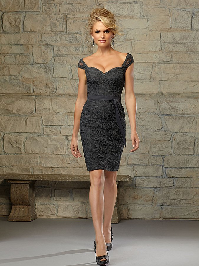 Mori Lee Bridesmaid Black Lace Dress
